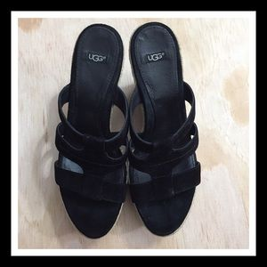UGG Shoes - UGG Black Leather Strappy Wedge Sandals Size 8.5